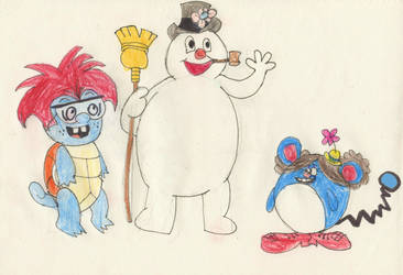 Squirtle Zach and Marill Giggles meet Frosty by AlextheAnimator