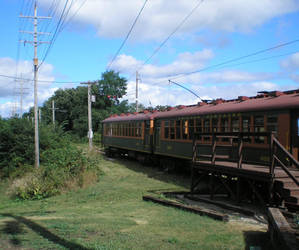 Passenger cars at museum by steward