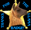 Thanks for the llama badge by steward