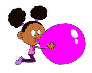 Tina Blowing Up A Giant Balloon
