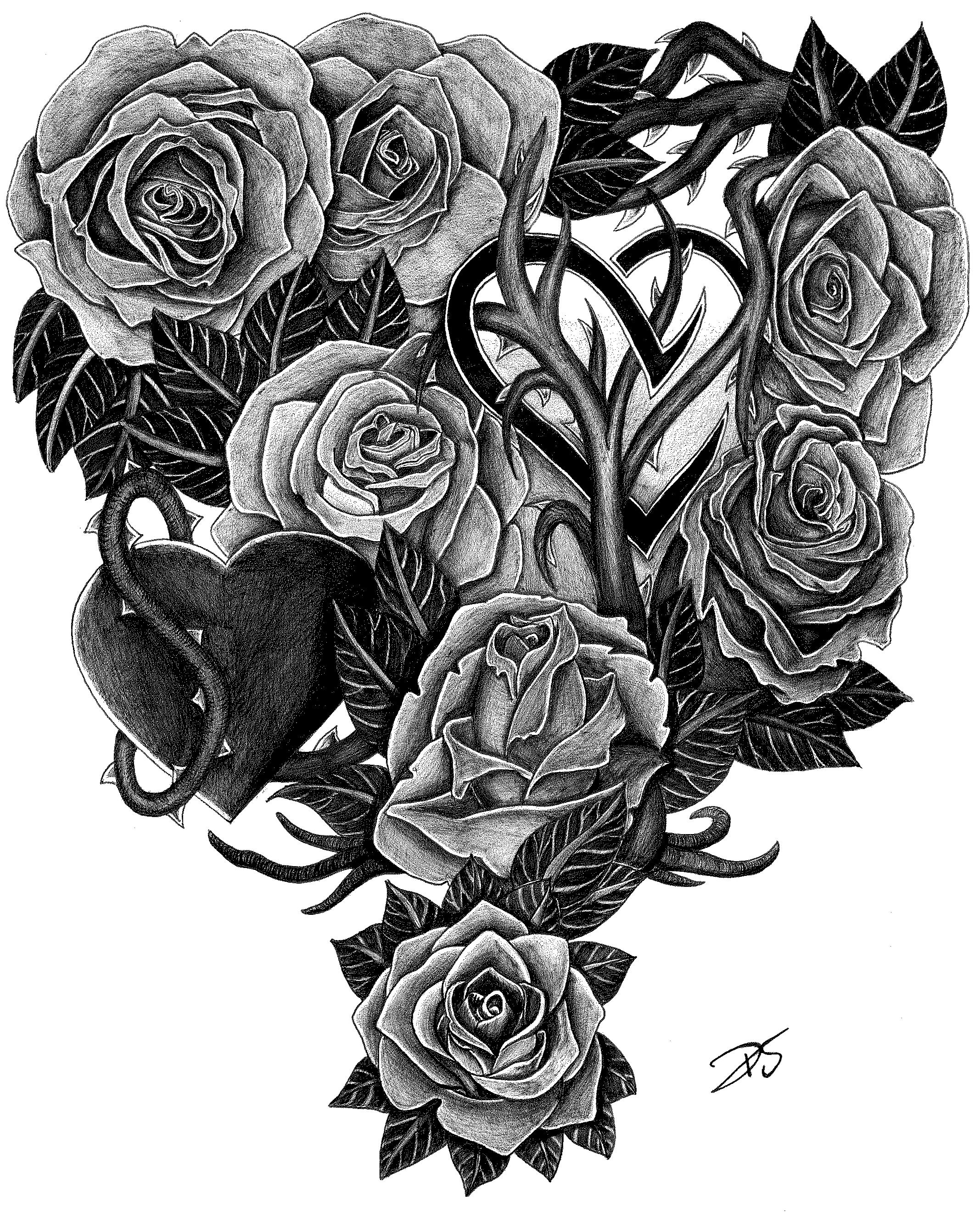 roses and hearts tattoo design by davidsteeleartworks on deviantart. Black Bedroom Furniture Sets. Home Design Ideas