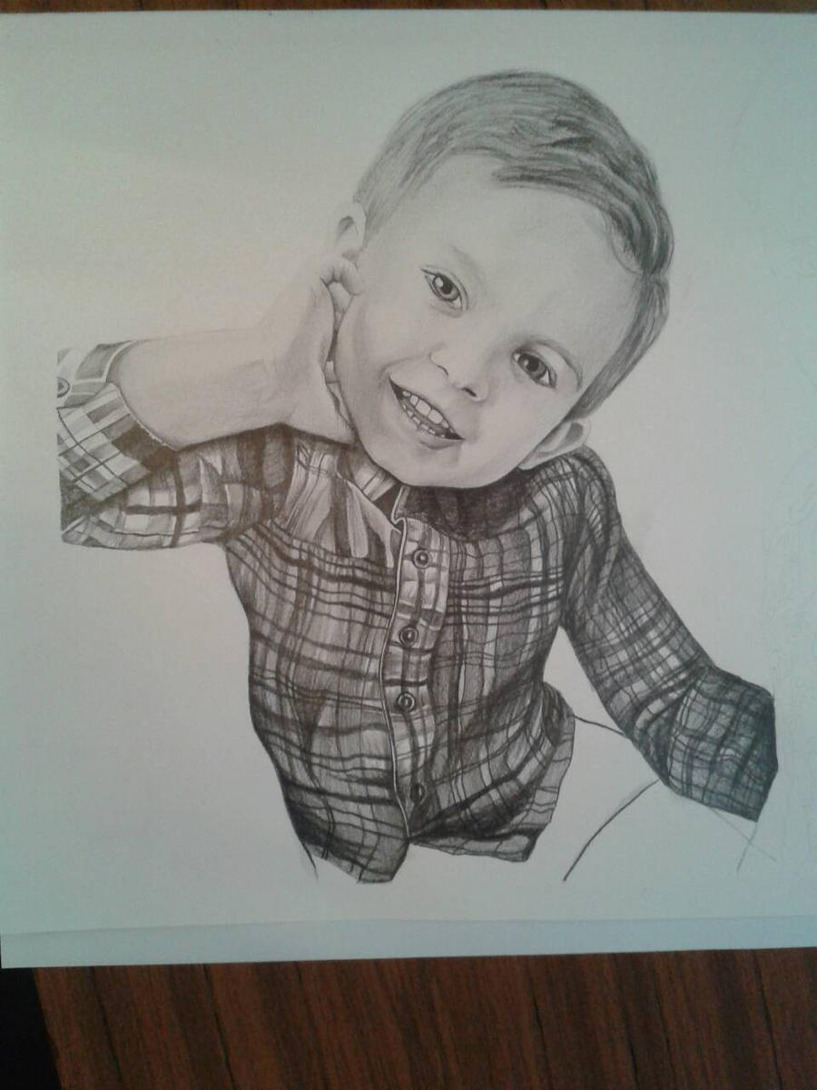 Beginning of two child portrait by davidsteeleartworks