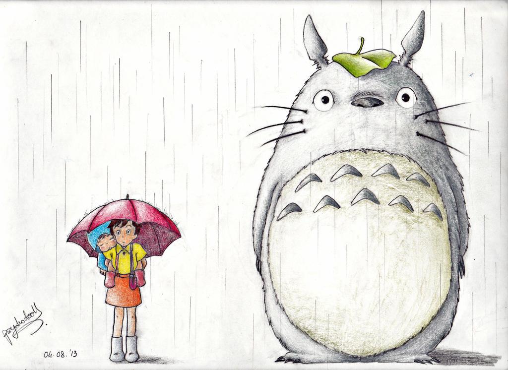 Тоторо рисунок поэтапно, открытка