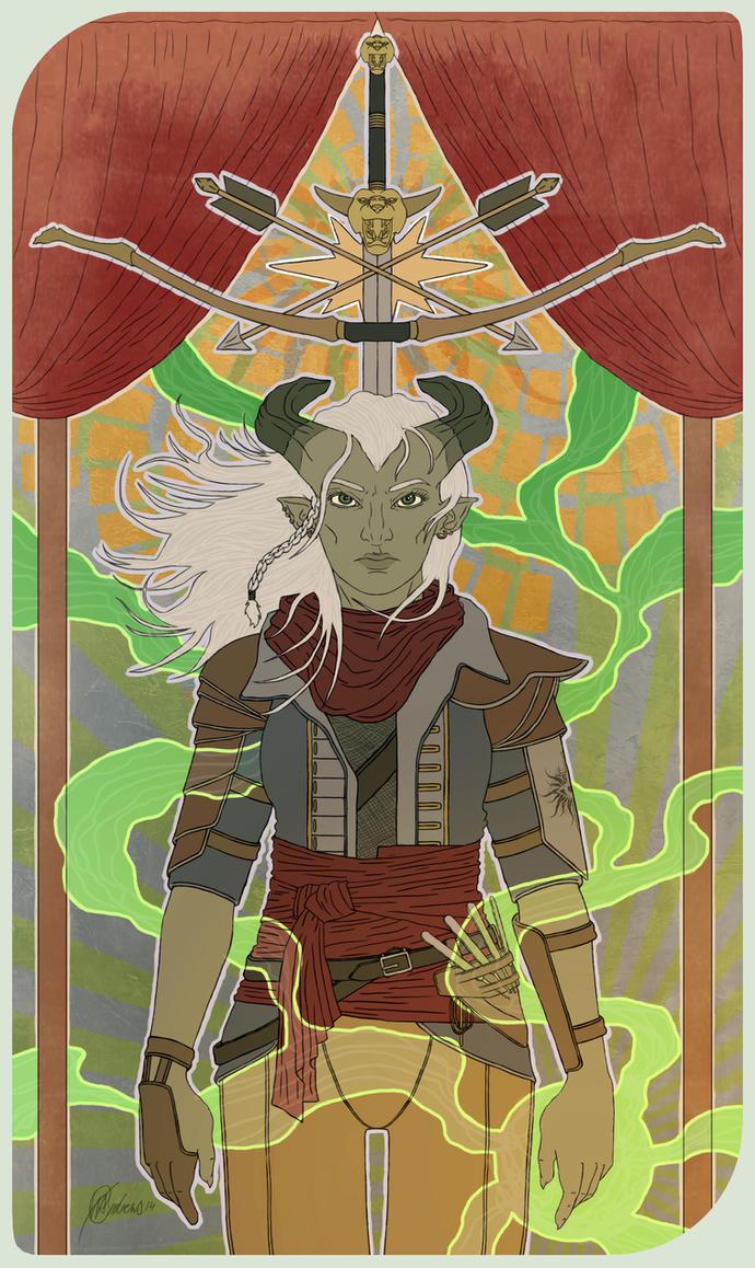 Inquisitor Lilith Adaar Tarot Card by handraw