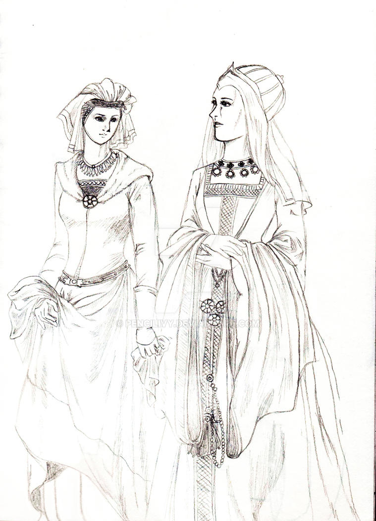 German noblewomen from the first half of the 15th  by Pencilivy