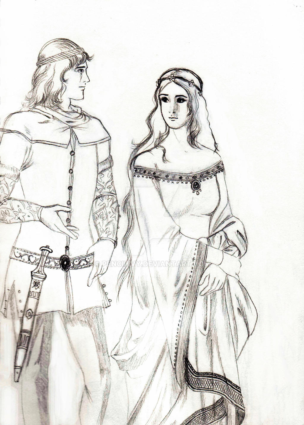14th century Knight and Noble Maiden by Pencilivy