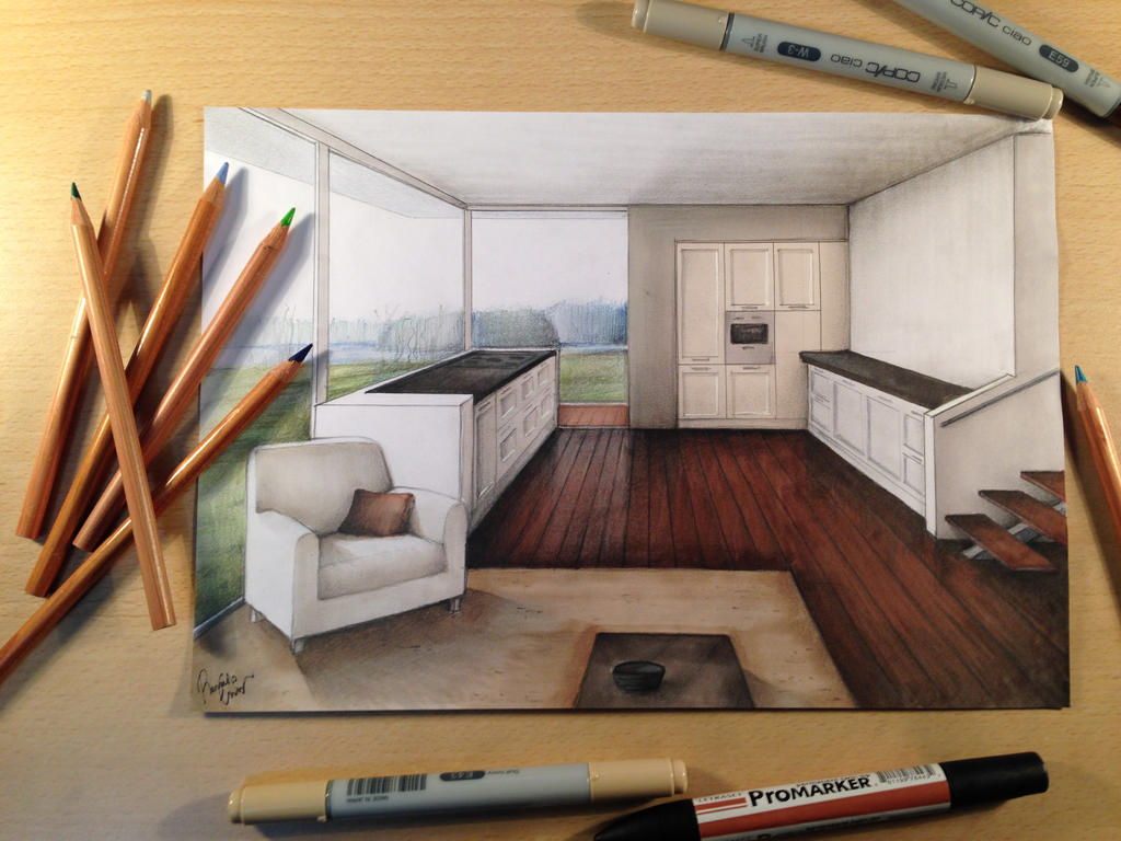 Rendering Manual Architecture Interior By Casoroxart On