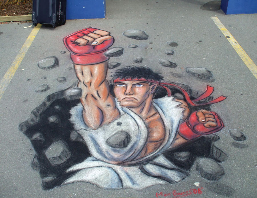 Ryu 3D Pavement Art by CptMunta