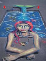 Mermaid in Pool Pavement Art by CptMunta