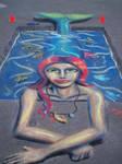 Mermaid in Pool Pavement Art