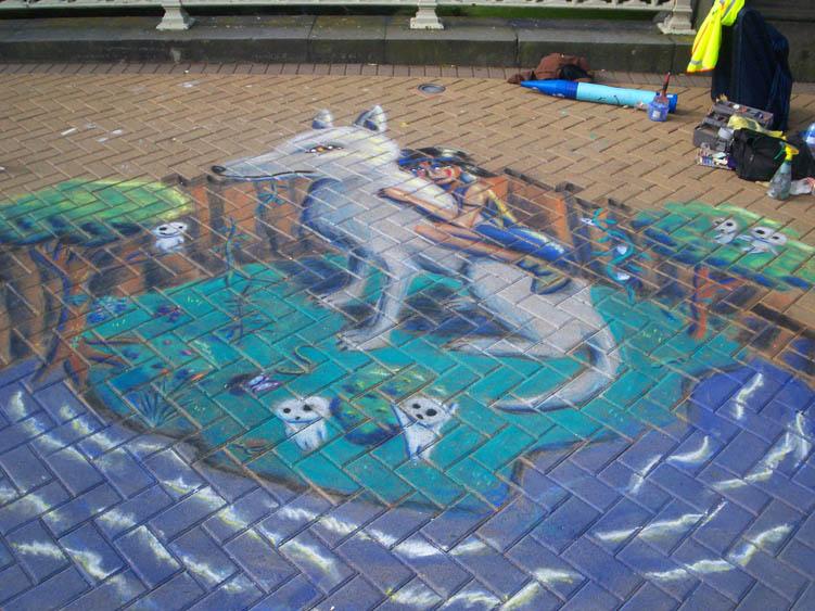 Princess Mononoke Pavement Art