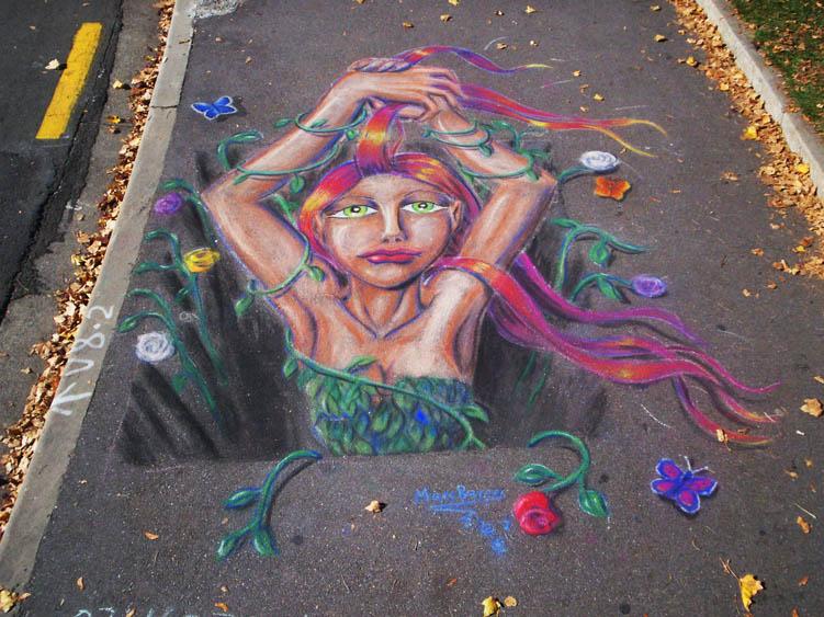 Autumn 3D ish Pavement Art by CptMunta