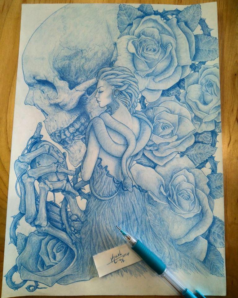 Skull and roses by Faelenn