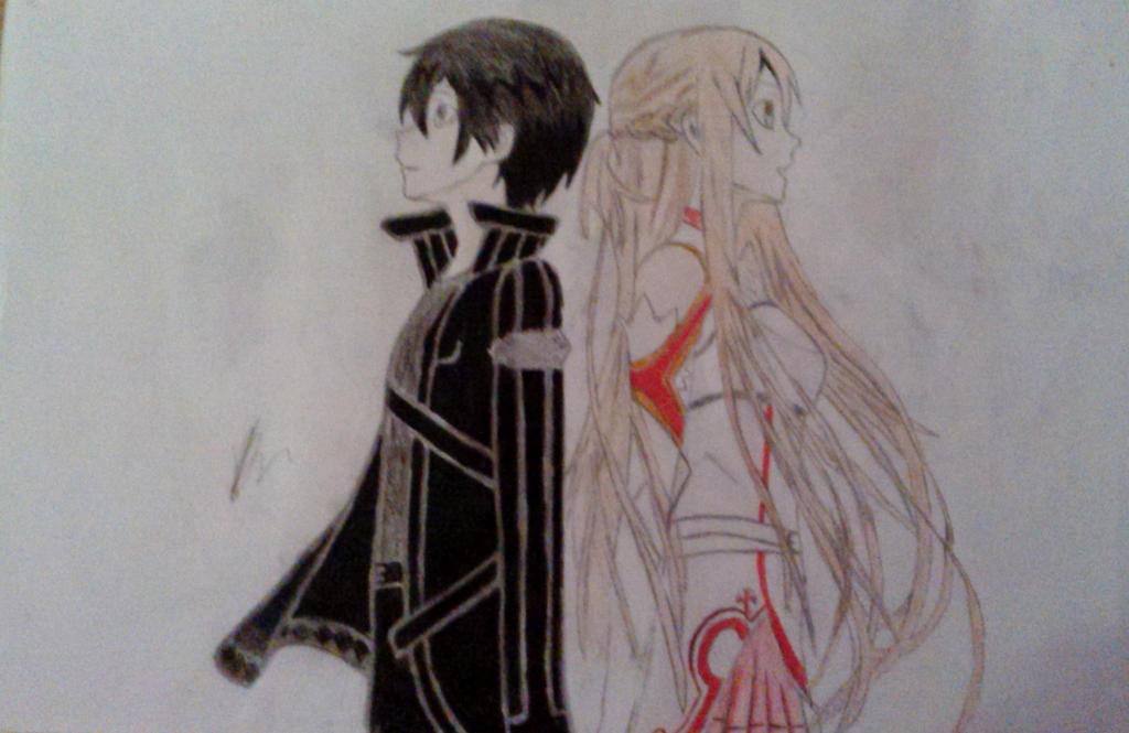 Kirito and Asuna SAO COLOURED! by Haphazard241000
