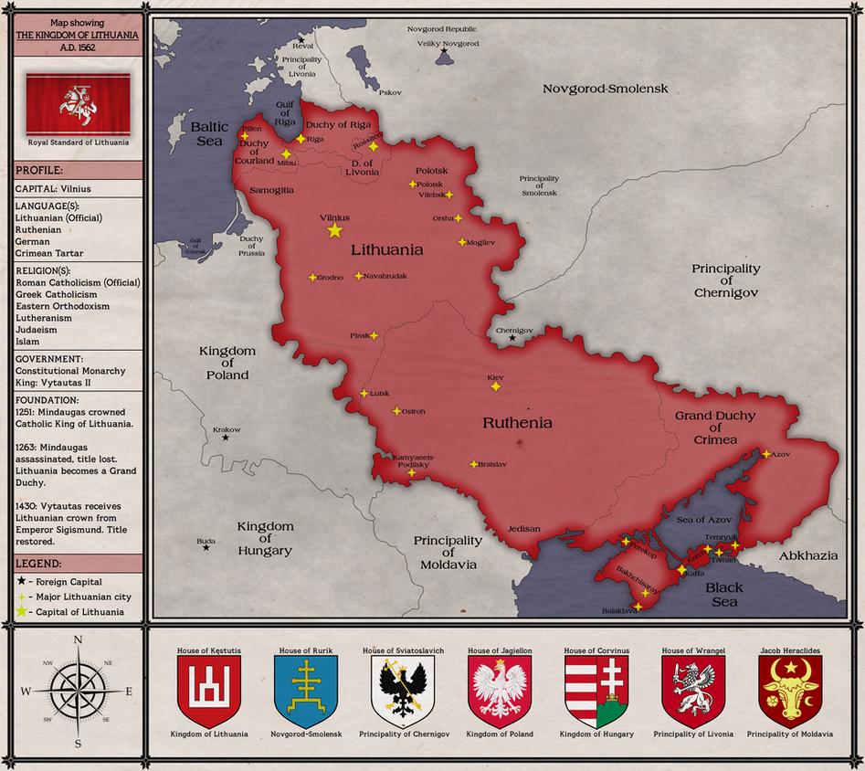 Kingdom of Lithuania 1562 Map by Rarayn