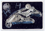 Millennium Falcon Star Wars sketch card for Topps