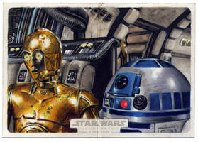 Topps Star Wars Illustrated sketch card WIP by Kapow2003
