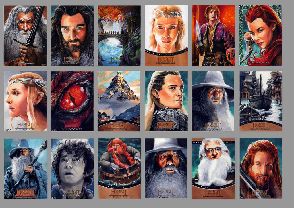 Sketch cards for Cryptozoic's Hobbit card set by Kapow2003