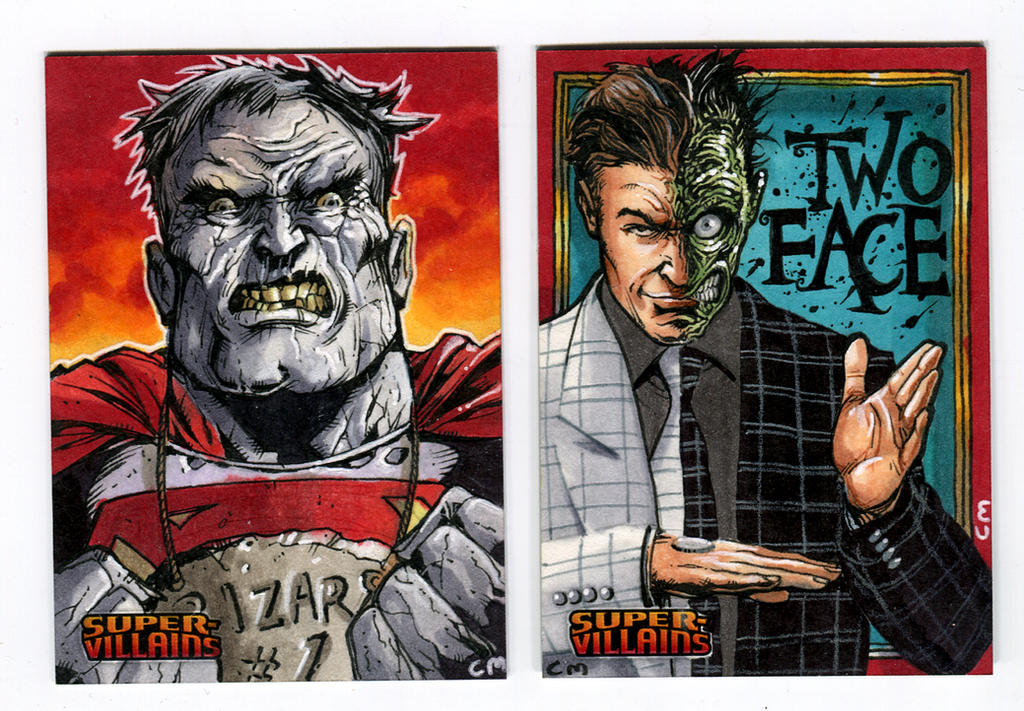 Villains sketch cards for DC comics card set by Kapow2003