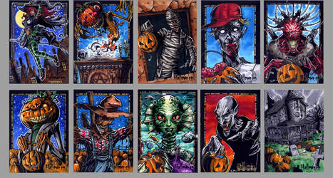Sketch cards for Perna Hallowe'en set by Kapow2003