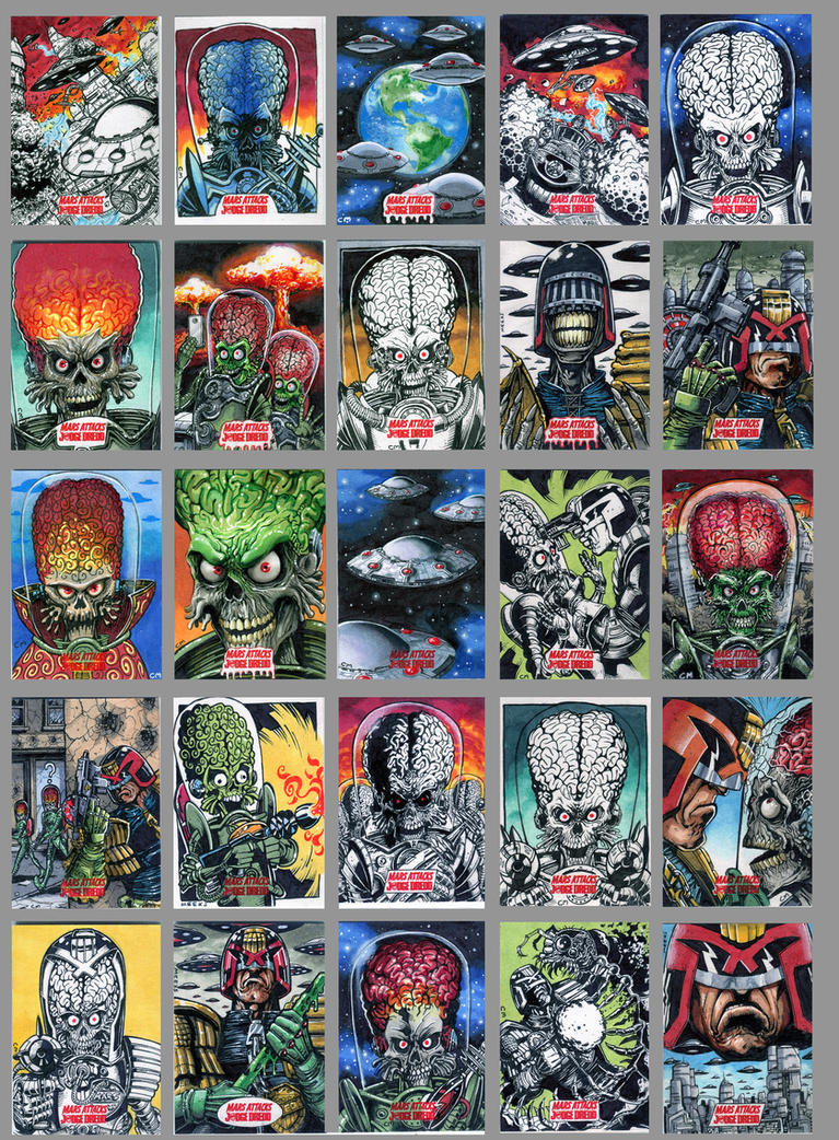 Topps Mars Attacks/Judge Dredd sketch cards by Kapow2003