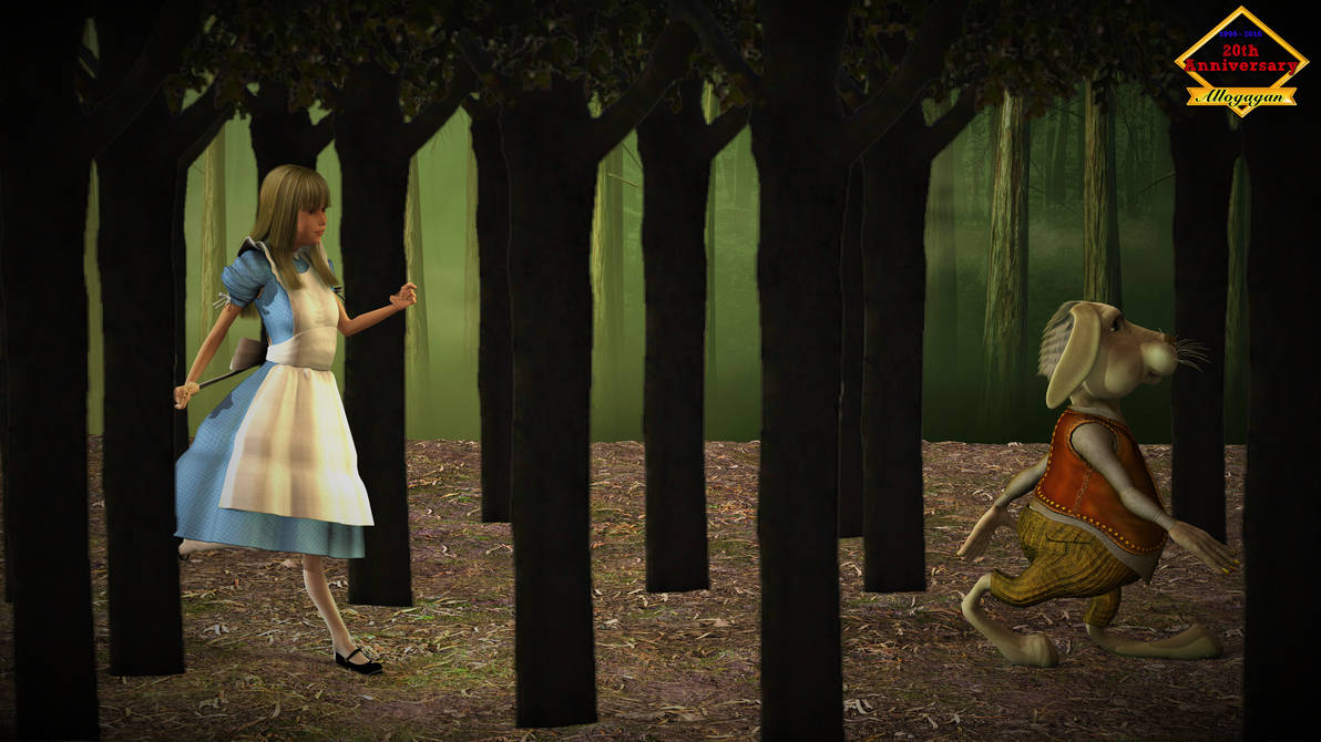 Alice chasing the White Rabbit. by Allogagan
