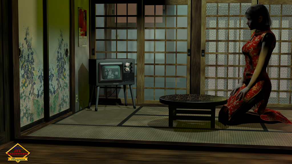 Tall Japanese Girl home from work by Allogagan