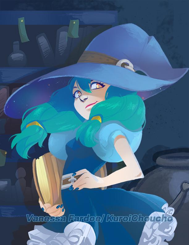 Original Art : Sneaky Blue Witch by VanessaFardoe