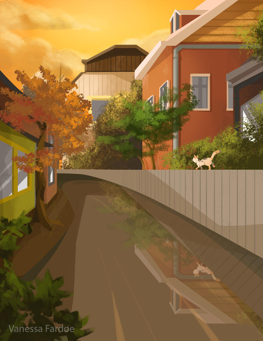 Original Art : Backyard waterway by VanessaFardoe