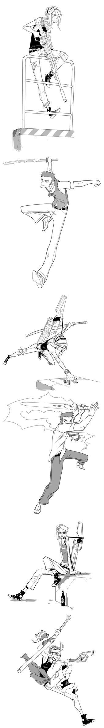Kezzie, Declan, Guns, Swords, etc. by Ekuneshiel
