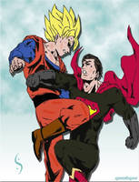 Goku vs superman by gixgeek