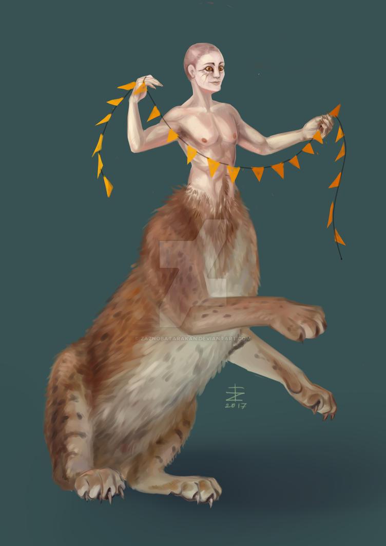 Cat with a garland by zaznobatarakan