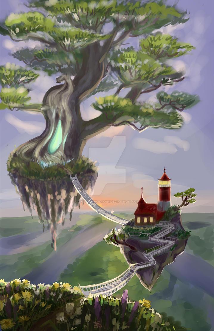Flying tree and lighthouse by zaznobatarakan