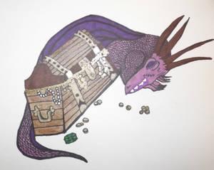 Dragon with Treasure colored in