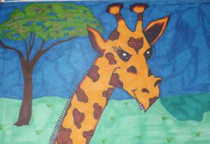 Inktober Day 4 Giraffe in the Savannah