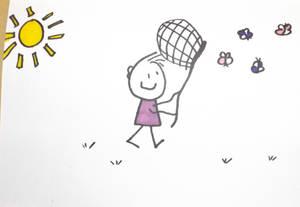 Boy chasing butterflies