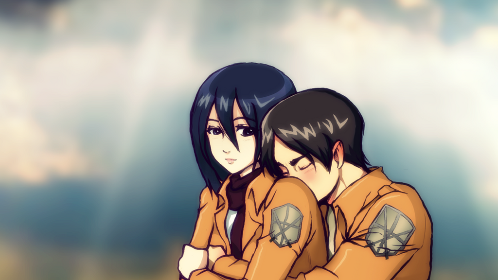Mikasa Ackerman and Eren Jaeger Wallpaper by PiccleFiccle