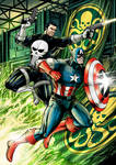 Punisher and Captain America vs Hydra [commission]