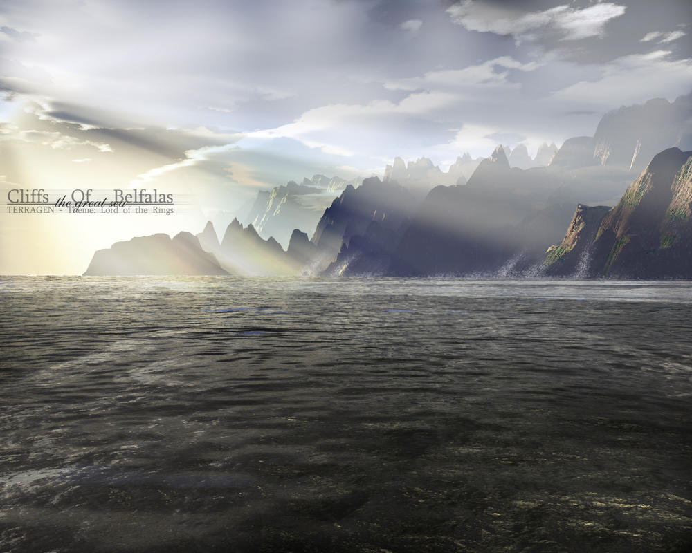 Terragen - Cliffs Of Belfalas by tigaer