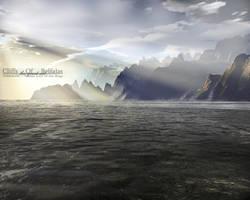 Terragen - Cliffs Of Belfalas by tigaer