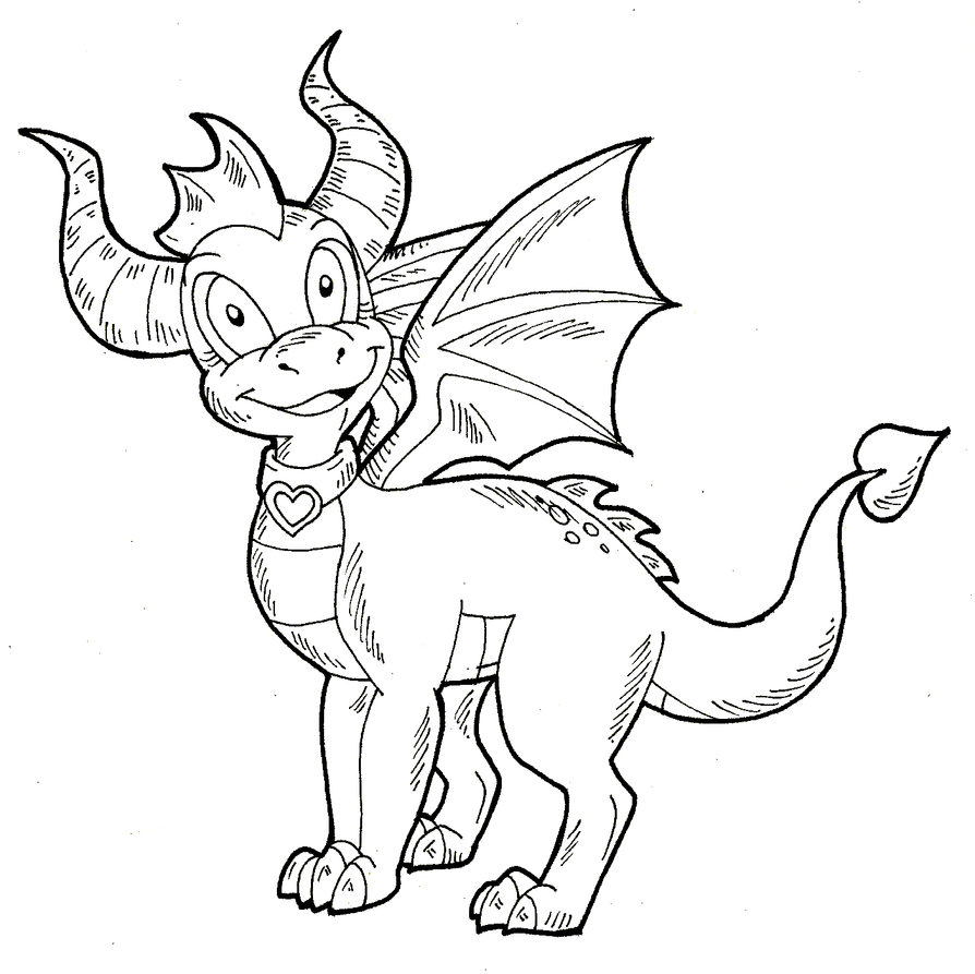 Spyro ember lineart by kaylathedragoness on deviantart for Spyro the dragon coloring pages