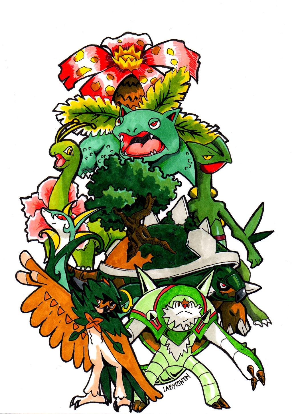 All Grass Starters Pokemon by Arelle28 on DeviantArt
