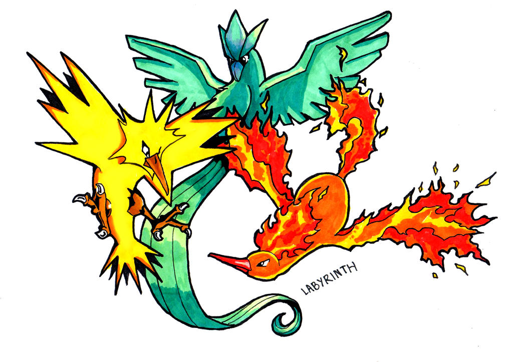 Three Legendary Birds Pokemon by Arelle28 on DeviantArt