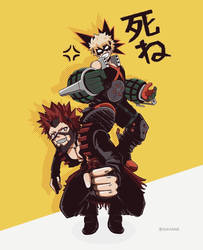 Kirishima and Bakugou by sukanne