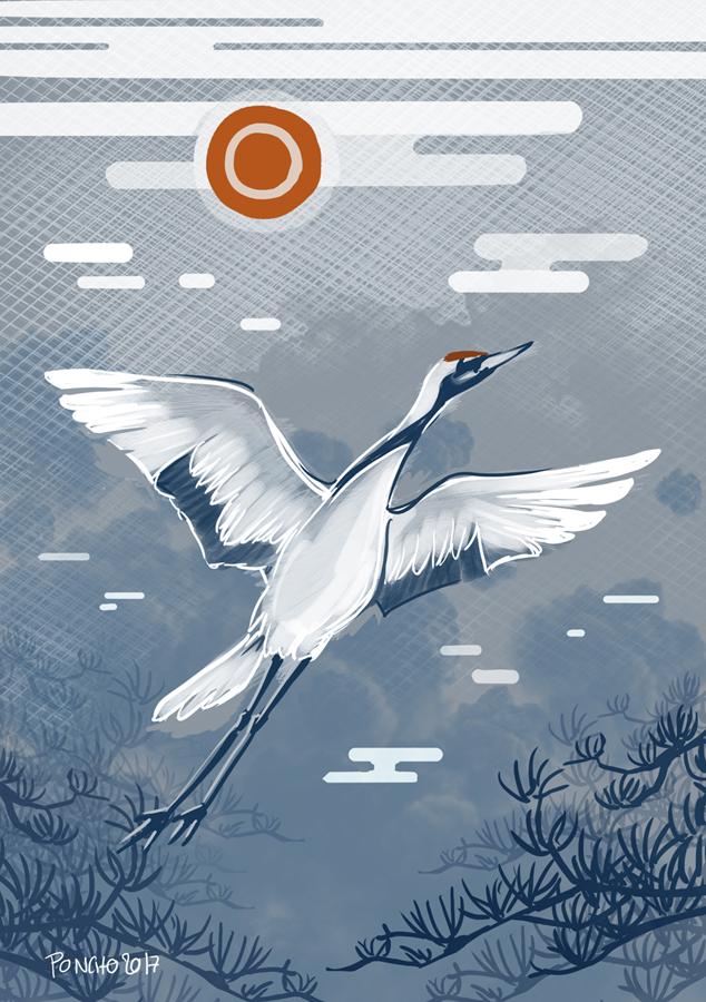 japanese crane by Ponchounette