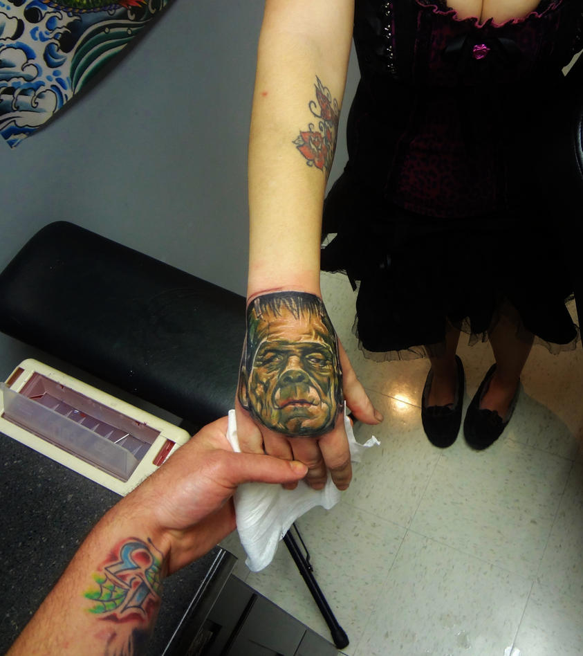 frankenstien hand tattoo by kevin gordon monroe nc by