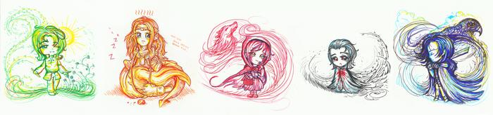 Svarik, Finwe, Red, General, Conrad -colorsplashy by SmilingOfTheHealer