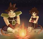 Gine Bardock sitting around a fire