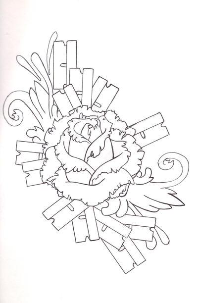 Razor Rose (linework) by Spktastic