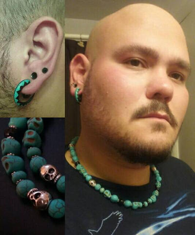 Turquoise Skull Necklace by Spktastic